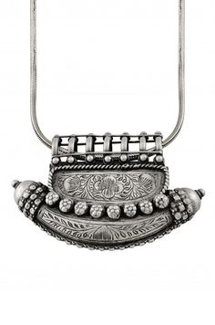 Silver Floral Oxidised Taveez Chaand Necklace
