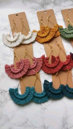 Diy Macrame Earrings, Tassel Jewelry, Diy Earrings, Leather Thread, Hand Embroidery Art, Macrame Projects, Diy Accessories, Yarn Crafts, Handmade Items