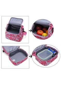MIER Double Decker Insulated Lunch Box Pink Soft Cooler Bag Thermal Lunch  Tote with Shoulder Strap 6dd4ce16ccc12