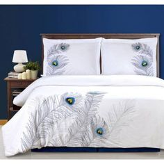 Shop Peacock Embroidered Duvet Cover Set, Full/Queen from Florence & Strada at Neiman Marcus Last Call, where you'll save as much as on designer fashions. Bed Duvet Covers, Duvet Sets, Duvet Cover Sets, Pillow Shams, Bronze Art, Online Bedding Stores, Bedding Websites, Cotton Duvet, My New Room