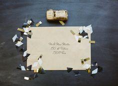 """Invitation """"black  gold"""" - Mariage industriel shooting d'inspiration - Photos: Greg Finck - La Fiancée du Panda blog Mariage et Lifestyle"""