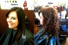 Hair by Mica Riggs. before and after of a perm design to give a great body wave. Come get yours today!!