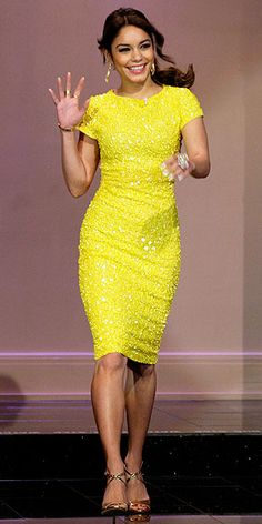 Vanessa Hudgens in beaded yellow Alice + Olivia dress for an appearance on The Tonight Show with Jay Leno