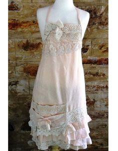 Apron long linen & lace #684