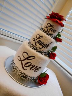 Live, Laugh, Love Embroidered Towel Cake in Black Damask and Red Roses - Great as a Bridal Shower or Wedding Reception Centerpiece. $85.00, via Etsy.