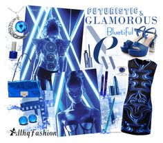 """""""Bluetiful"""" by sapphire12 ❤ liked on Polyvore featuring Diane Von Furstenberg, Lipstick Queen, NYX, Benefit, By Terry, Jimmy Choo, TheBalm, fun, Blue and contestentry"""