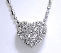 Diamond Encrusted Heart Shaped Pendant Necklace in 14K White Gold  #Pendant