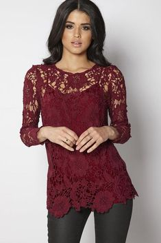 6b086d2d59880 Club L Crochet Top Berry Size UK Length with a plain crepe back for added  comfort and style.