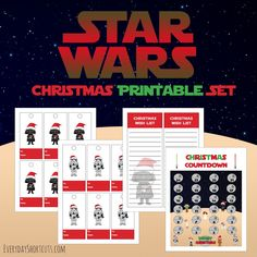 Hey Star Wars Fans, I have the best Star Wars Themed Christmas printable set that you can print for free. It includes a Darth Vader wish list, Darth Vader & Stormtrooper gift tags, and a Star Wars themed Christmas countdown.