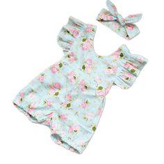 Princess Baby Girl Clothes Set Summer Lotus Flower Girl Sets Shorts Rompers Infant Jumpsuit & Headbands Toddler Girls Clothing