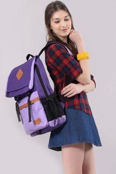 Color Block Backpack Bag