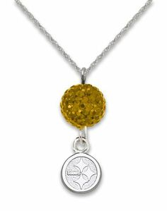 "NFL Pittsburgh Steelers LogoArt Ovation Necklace by Logo Art. $29.99. Give yourself the ovation you deserve for being so devoted to your team by wearing this LogoArt Ovation necklace.  Your team's logo expertly crafted in solid sterling silver and richly plated in a rhodium finish, dangles from a sphere glistening with an array of pavé crystals that match your team's colors. Supported on an 18"" sterling silver chain."