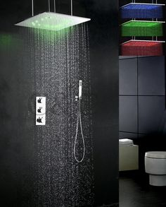 Thermostat LED Bath Shower Faucet Set 20 Inch Atomizing And Rainfall LED 3 Colors Temperature Sensitive Shower Head #Affiliate