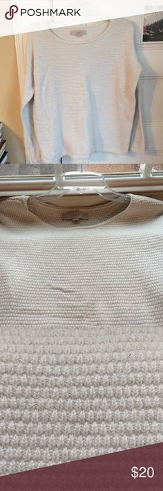 """Loft shimmer texture sweater size M Loft textured ivory sweater with slight silver metallic shimmer, size M, very gently worn, maybe twice. Drop shoulder, a bit of a boxy, slouchy cut, warm and cozy. Cotton, rayon, nylon, polyester, camel blend. 23"""" long, chest about 20"""" across from armpit to armpit. LOFT Sweaters Crew & Scoop Necks"""
