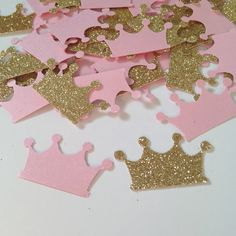 Royal Baby Shower, Pink and Gold Birthday Party, Pink and Gold Crown Confetti, Crown Confetti, Princess First Birthday, Princess Party by ProperlyPapered on Etsy https://www.etsy.com/listing/455186352/royal-baby-shower-pink-and-gold-birthday