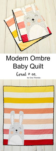 Modern Bunny Quilt for Babies and Toddlers.  Made by Coral and Co. for One Thimble Issue 11.  Pattern By Horris and Deedle.