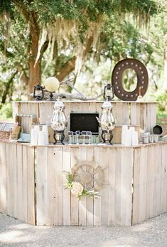 It doesn't get much more natural than a bar made of pale wood for a rustic look.