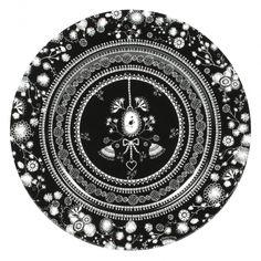 Black Flower Porcelain Charger Plate, Set of 2
