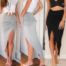 Faldas 2016 nueva moda para mujer de las mujeres acanalada lateral de Split delgado flaco hendidura Maxi larga falda lápiz nueva llegada venta al por mayor tamaño 6-16(China (Mainland))