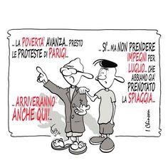 Rivoluzione...all' italiana #IoSeguoItalianComics #Satira #Politica #Umorismo #Comics #Parigi #Proteste #Povertà #spiaggia