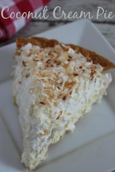 Coconut Cream Pie Recipe - YUM! Great for spring and summer get togethers!