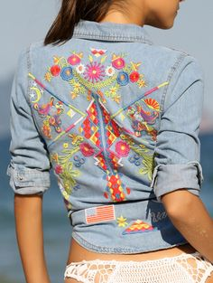 c596c2a4437 Retro Embroidery Long Sleeve Denim Shirt Cute Blouses