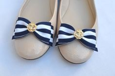 Nautical Flat Bow Shoe ClipsWomens Navy and White by JLAccessories, $17.00