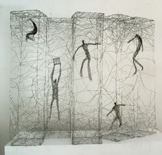 Barbara Licha.    Polish-born artist Barbara Licha now lives and works in Sydney, Australia. Though she also works in paint and other forms of mixed media, her tangled wire sculptures of figures in various poses and states of suspension really caught my eye.