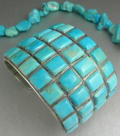 Zuni inlaid turquoise and sterling cuff bracelet - gosh, those stones are near perfect. True art!