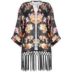 Quiz Black Chiffon Flower Print Fringe Kimono ($25) ❤ liked on Polyvore featuring intimates, robes, cardigans, kimonos, coats, black, sale, summer kimono, floral print kimono and summer robe
