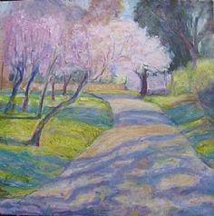 cherry blossom trees by frances knight Oil ~ 60cm x 60cm