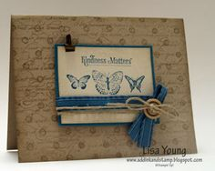 love the use of double background stamps on this card - Kindess Matters, Distressed Dots & EnFrancais.  by Lisa Young/Add Ink and Stamp