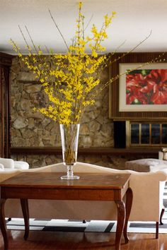 naturally decorating your home for spring using branches of forsythia - Forsythia Arrangements