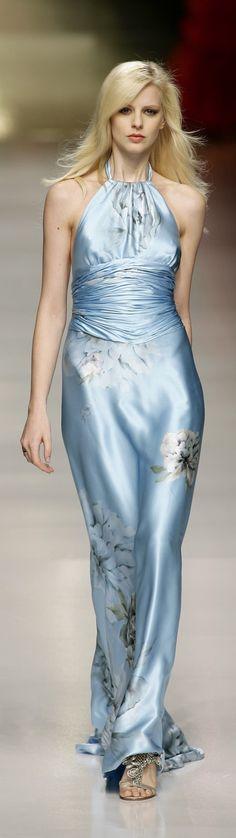 Valentin Yudashkin ~ Ice Blue Floral Halter Maxi Dress