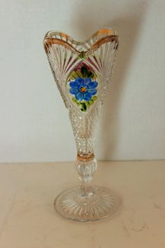 EAPG Gold Scalloped Vase with Blue & Pink Flowers by bonitasfolly