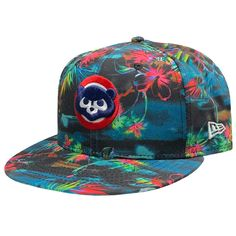 reputable site f791b fafda Chicago Cubs Black Floral 9FIFTY 1984 Cooperstown Snapback Cap by New Era