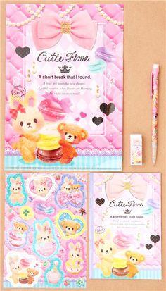 teddy bear rabbit macaron Q-Lia stationery set with 5 pieces