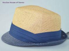 262549eced13b1 Mens Summer 2 Tone 100% Paper Straw Fedora Trilby Hat Khaki/Blue S/M, L/XL  AVL