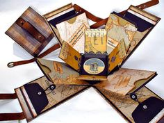 Gentleman Crafter, exploding envelope box, map-style and a parisian style. Pictures here, see descrip for directions (at Following the Paper Trail blog).