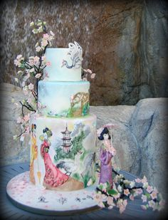 Geisha Inspired Wedding Cake by www.centerringcakes.com - For all your cake decorating supplies, please visit craftcompany.co.uk