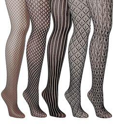 Emprella Five-Piece Patterned Fishnet Tight Set - Women Fishnet, High Socks, Tights, Stockings, Pattern, Women, Fashion, Navy Tights, Socks