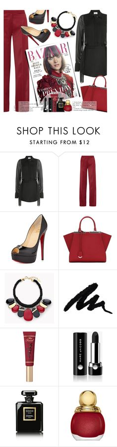"""Sheer up"" by xiandrina ❤ liked on Polyvore featuring DKNY, PALLAS, Christian Louboutin, Fendi, Chico's, Too Faced Cosmetics, Marc Jacobs, Chanel and Christian Dior"