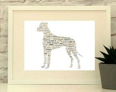 Great Dane, Great Dane art, Pet Gift, Print, Dog Art, Pet Art, Pet Memorial, Pet Supplies, Custom, Personalise, Great Dane Poster,