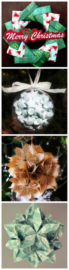 #DIY #origami #Christmas #ornaments Amazing Christmas paper decorations.