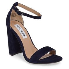 Women's Steve Madden Carrson Sandal (325 PLN) ❤ liked on Polyvore featuring shoes, sandals, heels, navy suede, steve madden shoes, navy blue sandals, navy ankle strap sandals, navy sandals and ankle strap heel sandals
