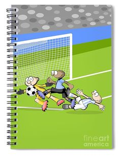 This 6 x 8 spiral notebook features the artwork spain faces soccer greeting cards player cartoon child sport football footballer play playing sports ball team teenager boy m4hsunfo