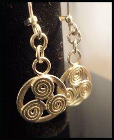 Triskel Celtic Medallions, Dangle Earrings, Handmade Sterling Silver    #Handmade #DropDangle