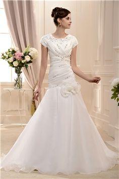 ブリリアントマーメイドスクープネックライン半袖床まで届く長さシャーリングフラワーウェディングドレス 21855