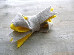 Color Block Inspired Hair Bow Neon Yellow and Gray Twist Felt Clip for Women by OrdinaryMommy on Etsy. $10.00, via Etsy.
