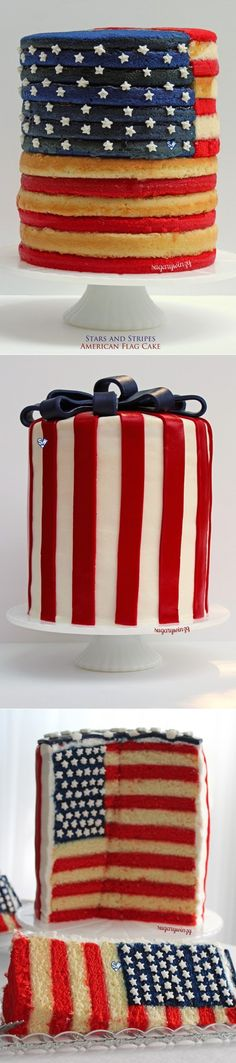 SugaryWinzy Stars and Stripes American Flag Cake